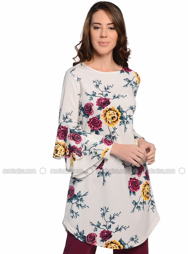White - Floral - Tunic
