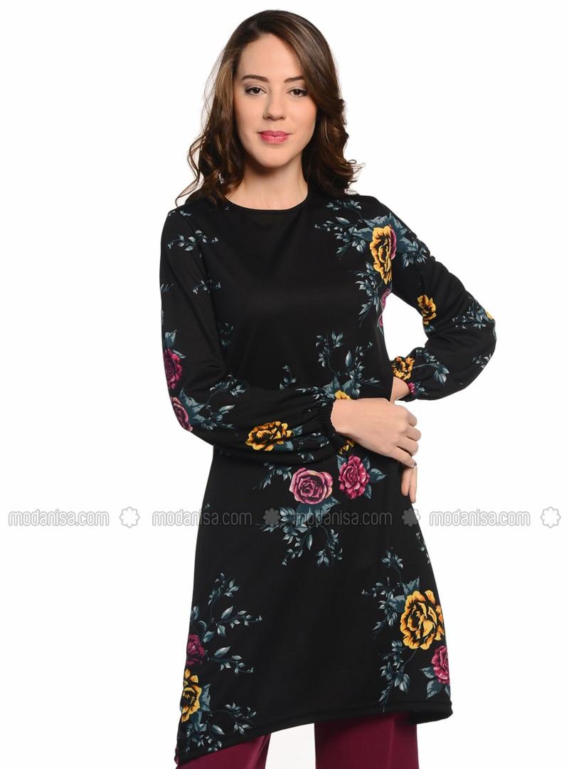 Black - Floral - Unlined - Suit