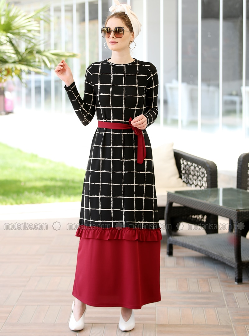 Black - Maroon - Stripe - Crew neck - Unlined - Dress