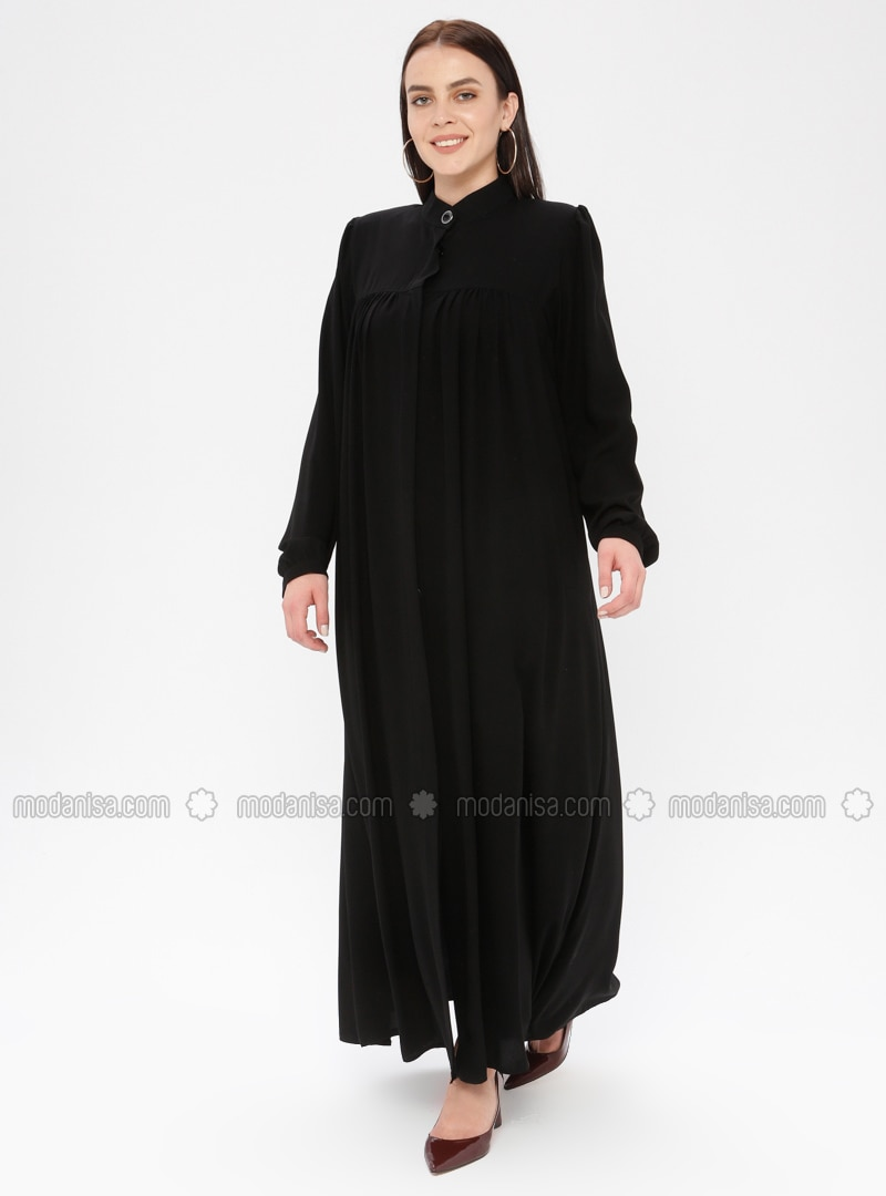 Black - Button Collar - Unlined - Plus Size Abaya