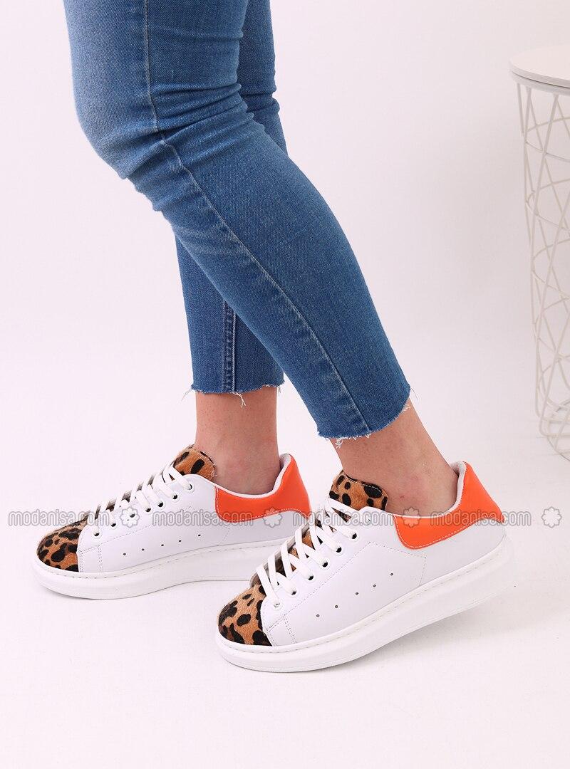 White - Orange - Leopard - Sport - Sports Shoes - Dujour Paris