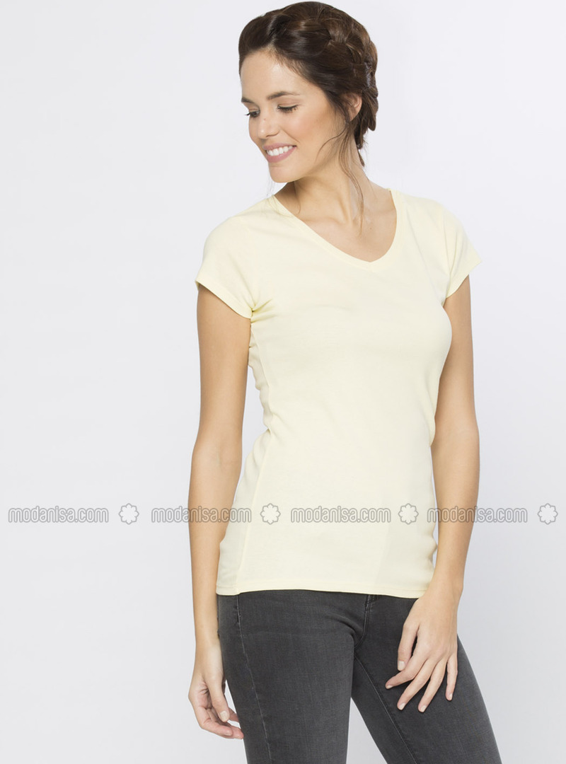 V neck Collar - Yellow - T-Shirt