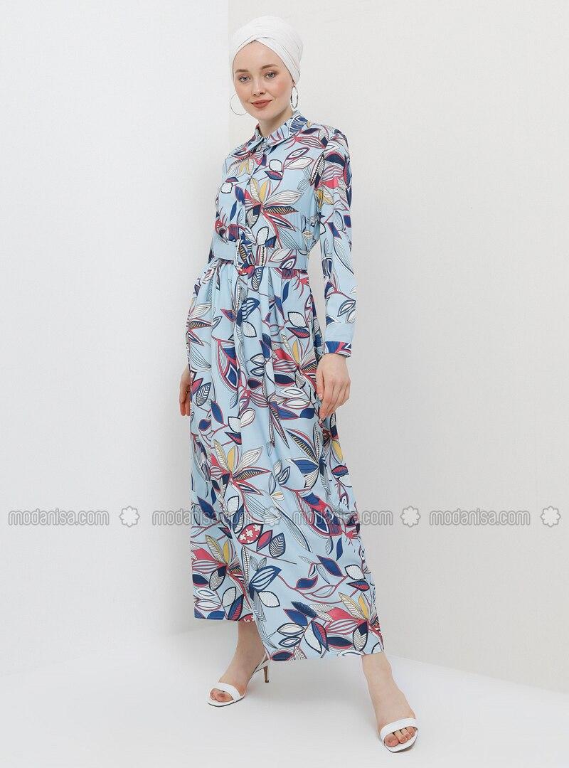dfa01f5919846 Yaprak Desenli Kemerli Elbise - Bebe Mavisi