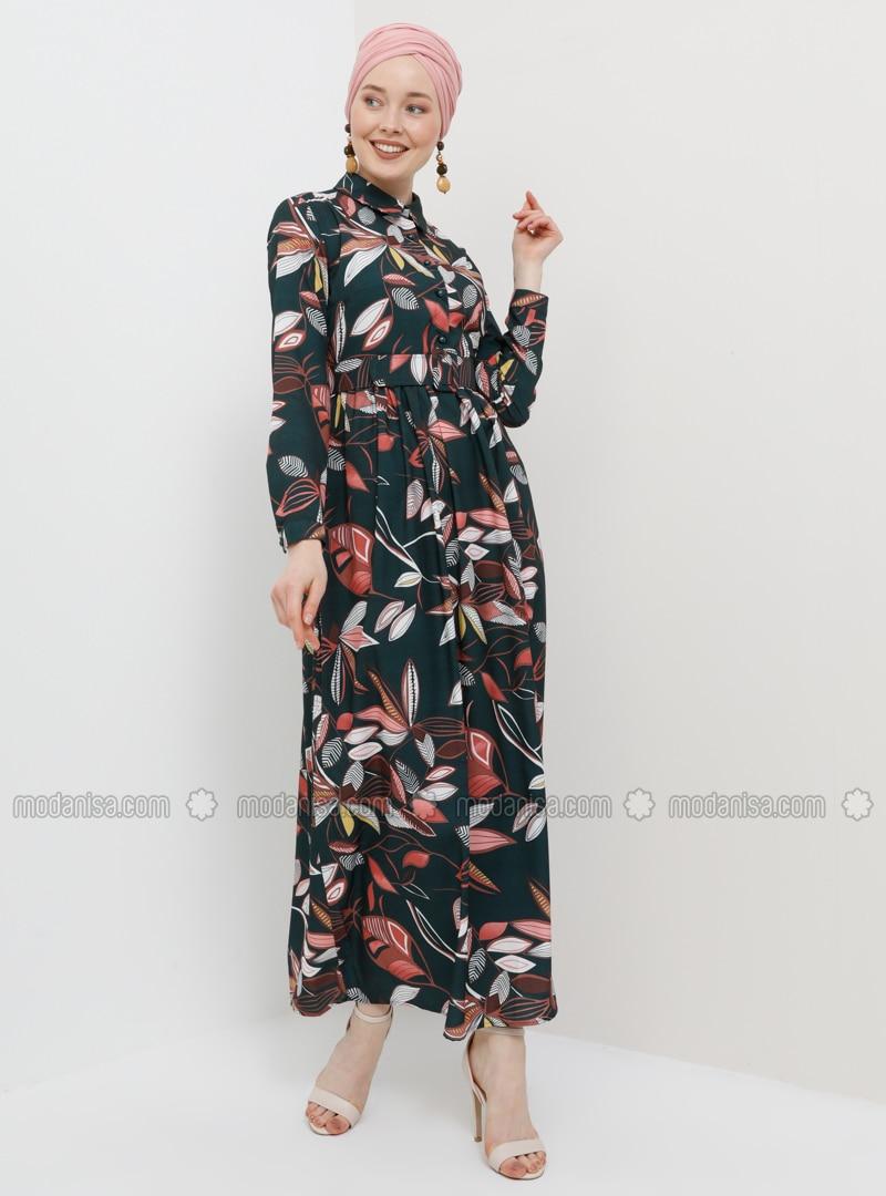 d657514aa8f6c Yaprak Desenli Kemerli Elbise - Haki