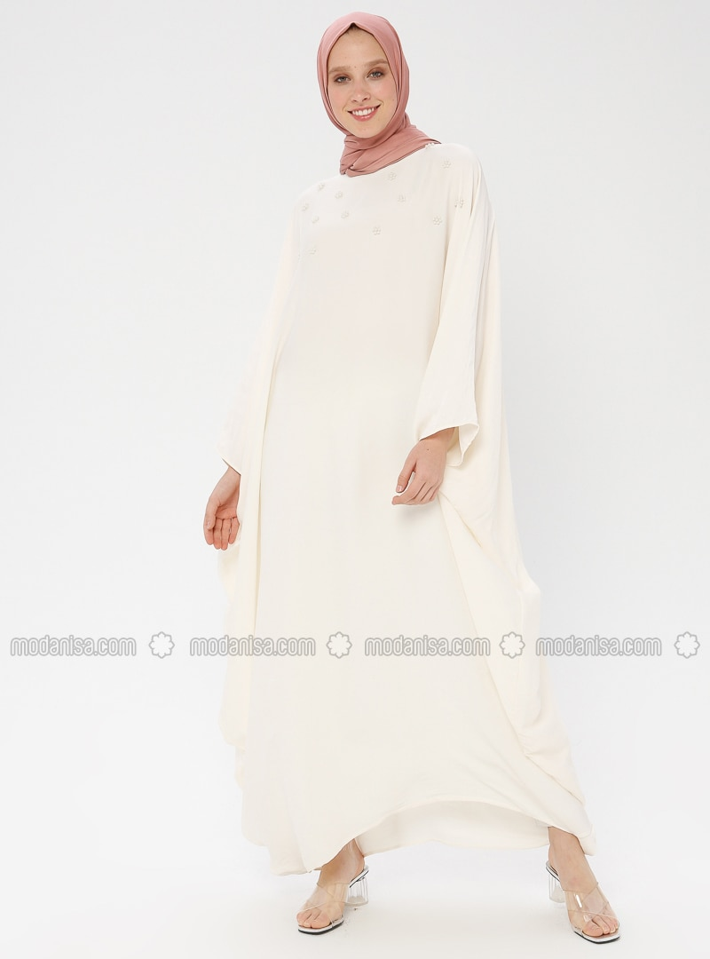 Cream - Unlined - Crew neck - Abaya