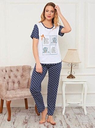 Navy Blue - Multi - Polka Dot - Pyjama