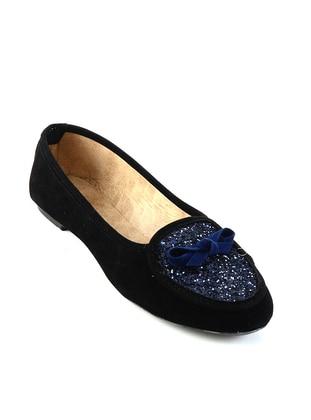 Black - Navy Blue - Flat - Flat Shoes