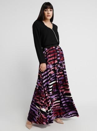 Black - Purple - Multi - Unlined - Skirt