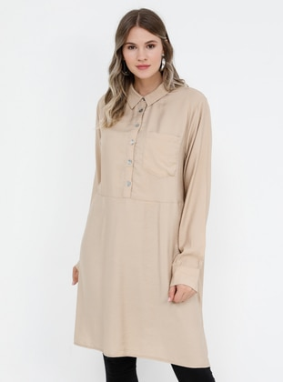 Beige - Point Collar - Viscose - Plus Size Tunic