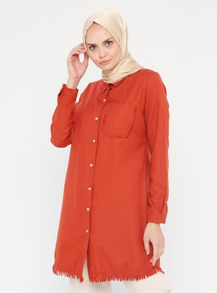 Terra Cotta - Button Collar - Point Collar - Tunic