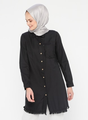 Black - Button Collar - Point Collar - Tunic