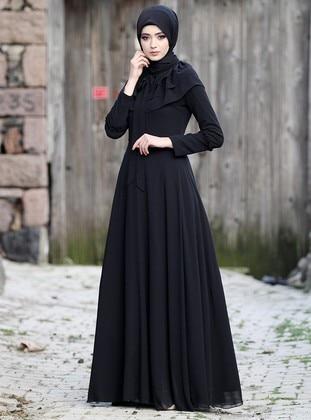 Black - Fully Lined - Chiffon - Muslim Evening Dress