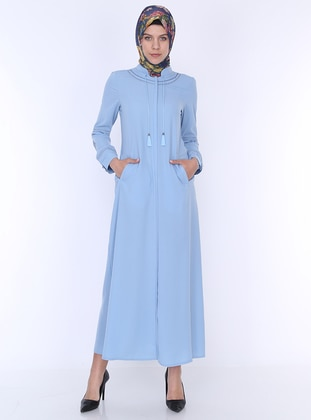 Baby Blue - Unlined - Crew neck - Abaya