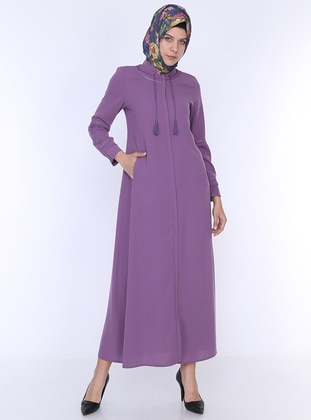 Lilac - Unlined - Crew neck - Abaya