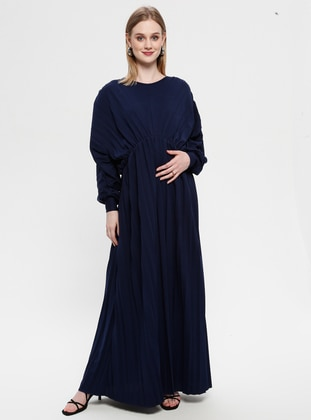 Navy Blue - Crew neck - Unlined - Maternity Dress