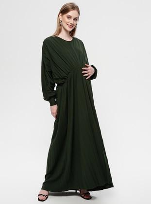 Green - Crew neck - Unlined - Maternity Dress
