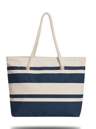 Satchel - Navy Blue - Cream - Beach Bags