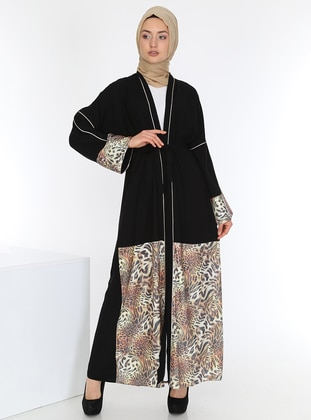 Black - Leopard - Unlined - Abaya