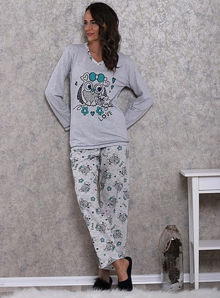Gray - Crew neck - Multi - Cotton - Pyjama - PIAMORE