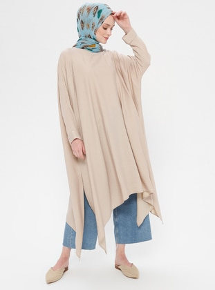 Cream - Crew neck - Tunic