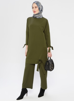 Khaki - Unlined - Crepe - Evening Suit