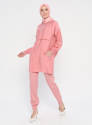 Dusty Rose - Stripe - Unlined - Viscose - Suit