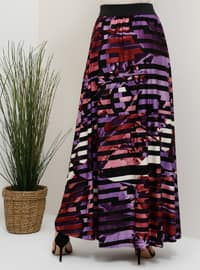 Black - Purple - Multi - Unlined - Skirt