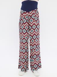 Blue - Maroon - Viscose - Maternity Pants