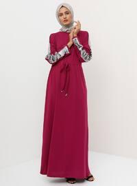 Pink - Fuchsia - Floral - Point Collar - Dress