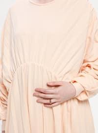 Beige - Crew neck - Unlined - Maternity Dress