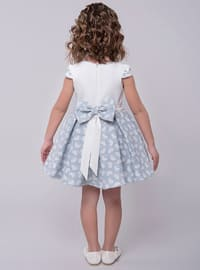Crew neck - Cotton - Fully Lined - Navy Blue - Girls` Dress
