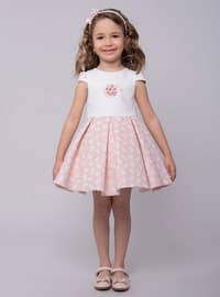 Crew neck - Cotton - Fully Lined - Powder - Girls` Dress