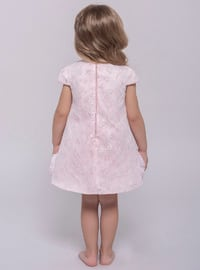 Crew neck - Fully Lined - Powder - Girls` Dress