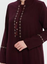 Plum - Crew neck - Unlined - Plus Size Abaya