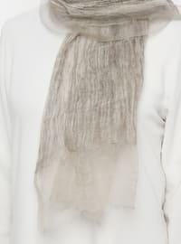 Beige - Plain - Acrylic - Shawl