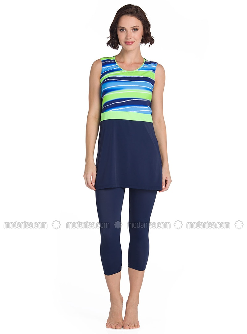 Blue - Navy Blue - Half Covered Switsuits
