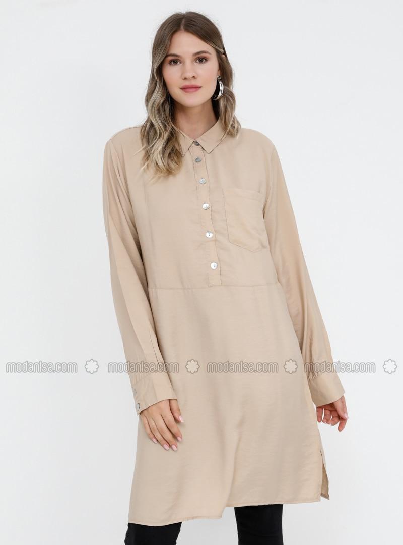 Beige - Point Collar - Viscose - Plus Size Tunic
