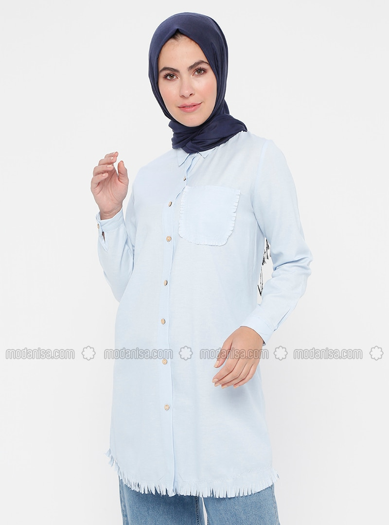Blue - Button Collar - Point Collar - Tunic