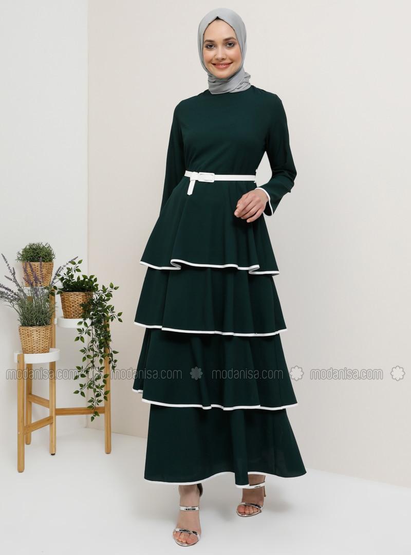 Green - Emerald - Crew neck - Unlined - Dress