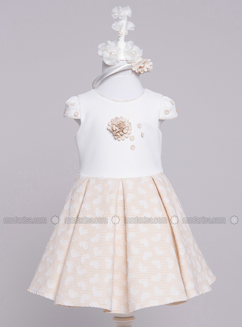 Crew neck - Cotton - Fully Lined - Beige - Girls` Dress