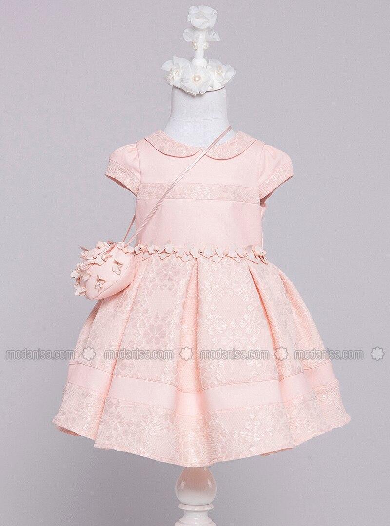 Crew neck - Fully Lined - Salmon - Girls` Dress