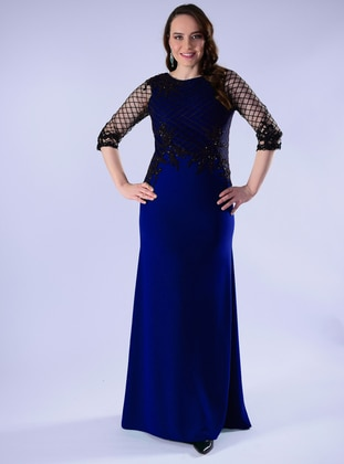 Saxe - Fully Lined - Crew neck - Crepe - Muslim Plus Size Evening Dress