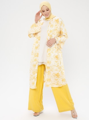 Yellow - Multi - Unlined - Abaya