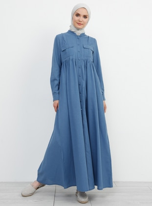 Indigo - Blue - Crew neck - Unlined - Cotton - Dress