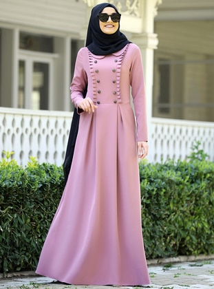 Powder - Point Collar - Unlined - Crepe - Dress