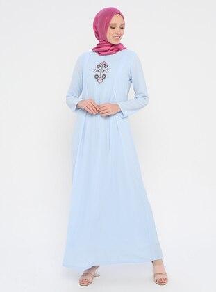 Blue - Baby Blue - Crew neck - Unlined - Viscose - Dress