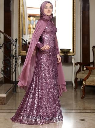Dusty Rose - Multi - Fully Lined - Crew neck - Muslim Evening Dress