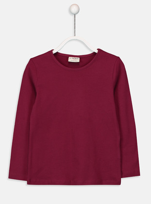 Crew neck - Plum - Girls` T-Shirt