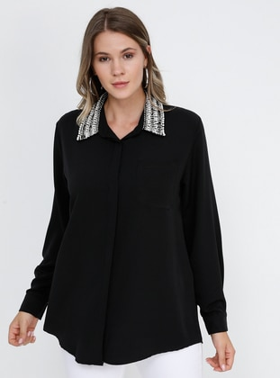 Black - Point Collar - Plus Size Blouse - Alia