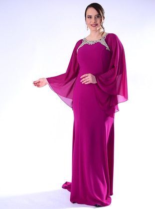 Fuchsia - Fully Lined - Crew neck - Crepe - Muslim Plus Size Evening Dress